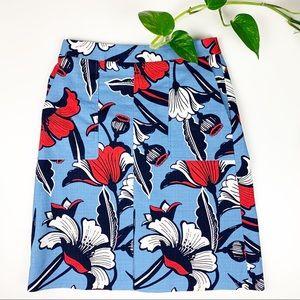 J. Crew Front-Slit Skirt in Deco Floral Size 8